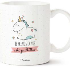 mug licorne et paillettes