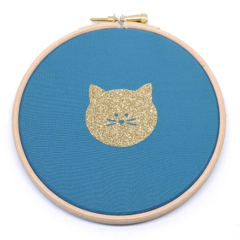 cadre chat bleu canard et or la renarde apprivois e. Black Bedroom Furniture Sets. Home Design Ideas